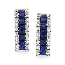 1.50 ct. t.w. Sapphire and .30 ct. t.w. Diamond Huggie Hoop Earrings in 14kt White Gold, , default
