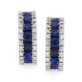 "1.50 ct. t.w. Sapphire and .30 ct. t.w. Diamond Huggie Hoop Earrings in 14kt White Gold. 1/2"", , default"