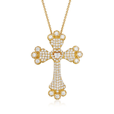 3.80 ct. t.w. CZ Cross Pendant Necklace in 18kt Gold Over Sterling