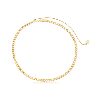 14kt Yellow Gold Curb-Link Choker Necklace, , default