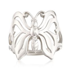 Sterling Silver Openwork Butterfly Ring, , default