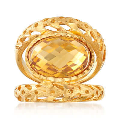 Italian 4.50 Carat Citrine Ring in 18kt Gold Over Sterling, , default