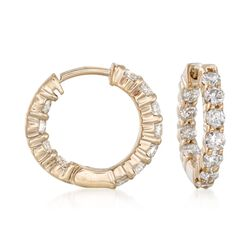 "1.00 ct. t.w. Diamond Inside-Outside Hoop Earrings in 14kt Yellow Gold. 1/2"", , default"