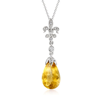 C. 2000 Vintage 5.59 Carat Citrine and .20 ct. t.w. Diamond Fleur-De-Lis Drop Pendant Necklace in 18kt White Gold