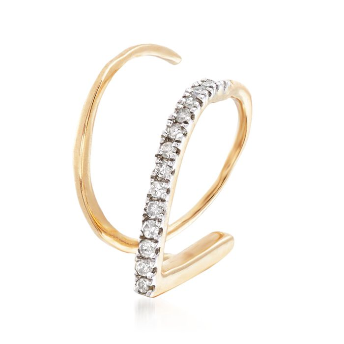 Diamond-Accented Single Cuff Earring in 14kt Yellow Gold