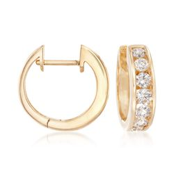 "1.00 ct. t.w. Channel-Set Diamond Hoop Earrings in 14kt Yellow Gold. 1/2"", , default"
