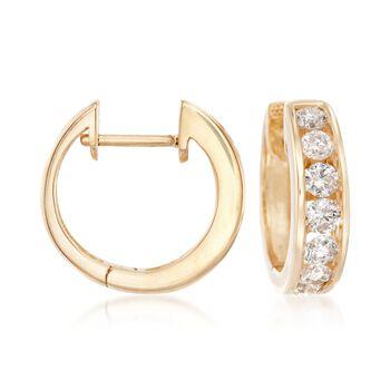 """1.00 ct. t.w. Channel-Set Diamond Hoop Earrings in 14kt Yellow Gold. 1/2"""", , default"""