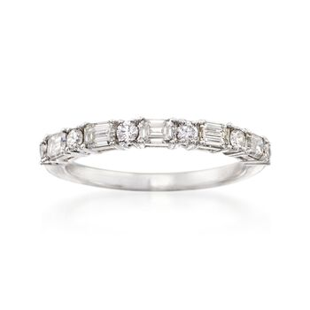 .75 ct. t.w. Round and Emerald-Cut Diamond Wedding Ring in 14kt White Gold, , default