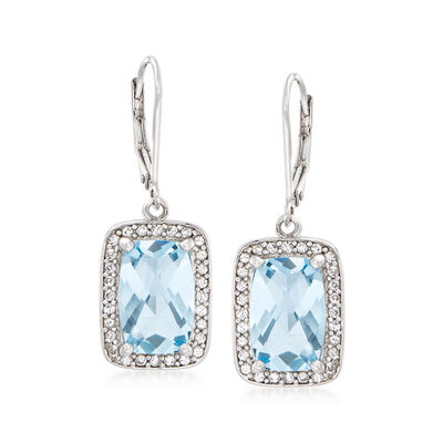 6.75 ct. t.w. Sky Blue Topaz and .90 ct. t.w. White Zircon Drop Earrings in Sterling Silver, , default