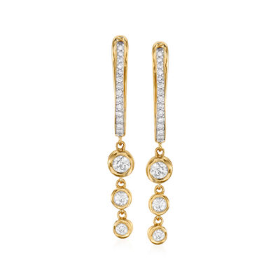 .29 ct. t.w. Graduated Bezel-Set Diamond Drop Earrings in 14kt Yellow Gold