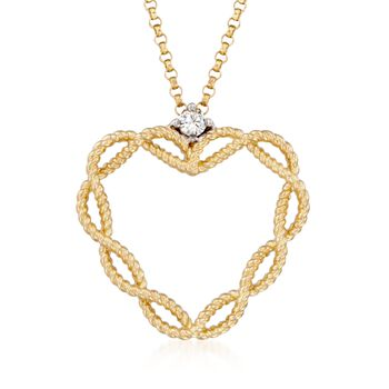 "Roberto Coin ""Barocco"" Heart Pendant Necklace With Diamond Accent in 18kt Yellow Gold. 16"", , default"