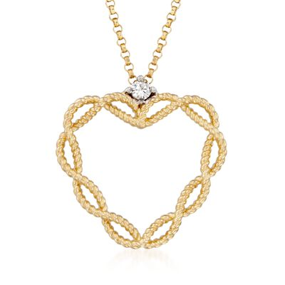"Roberto Coin ""Barocco"" Heart Pendant Necklace with Diamond Accent in 18kt Yellow Gold, , default"