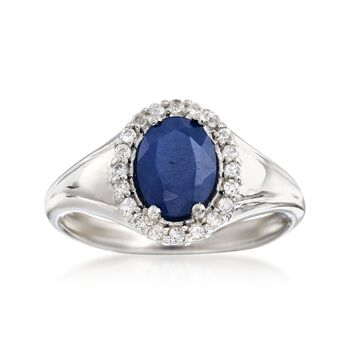 1.50 Carat Sapphire and .30 ct. t.w. White Topaz Ring in Sterling Silver , , default
