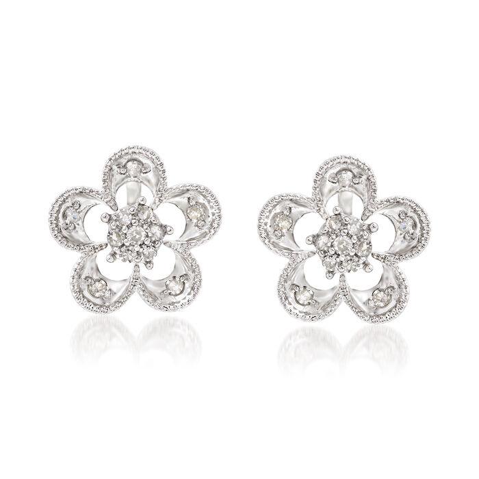 .25 ct. t.w. Diamond Flower Convertible Earrings in Sterling Silver