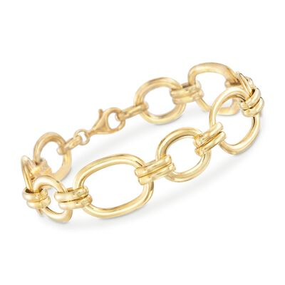 Italian 18kt Gold Over Sterling Oval Link Bracelet, , default