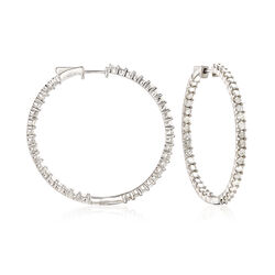 4.00 ct. t.w. Diamond Inside-Outside Hoop Earrings in Sterling Silver, , default
