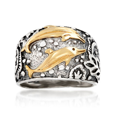 Sterling Silver and 14kt Yellow Gold Dolphin Ring, , default