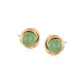 Green Jade Love Knot Stud Earrings in 14kt Gold Over Sterling, , default