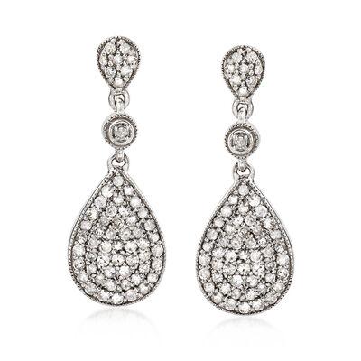 1.00 ct. t.w. Pave Diamond Drop Earrings in Sterling Silver, , default