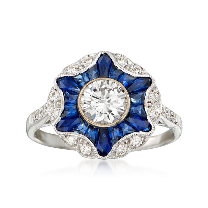 C. 2016 1.20 ct. t.w. Sapphire and .86 ct. t.w. Diamond Burst Ring in 18kt White Gold