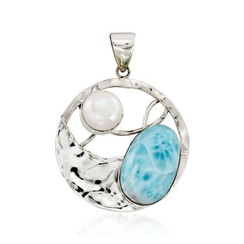 10mm Cultured Pearl and Larimar Hammered Openwork Pendant in Sterling Silver, , default