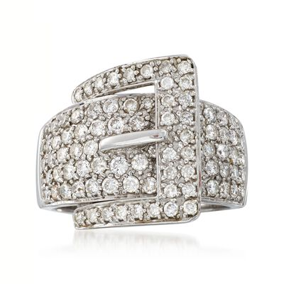 C. 1990 Vintage 1.75 ct. t.w. Pave Diamond Buckle Ring in 14kt White Gold, , default