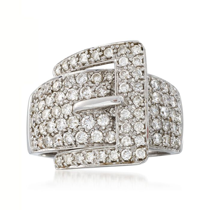 C. 1990 Vintage 1.75 ct. t.w. Pave Diamond Buckle Ring in 14kt White Gold. Size 7