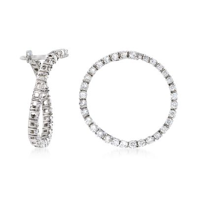 1.00 ct. t.w. Diamond Front-Facing Hoop Earrings in 14kt White Gold, , default