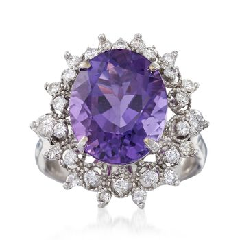 C. 2000 Vintage 7.00 Carat Amethyst and .75 ct. t.w. Diamond Ring in 14kt White Gold. Size 6.75, , default