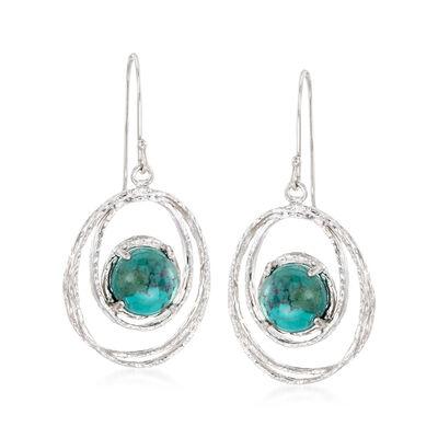 Turquoise Drop Earrings in Sterling Silver, , default
