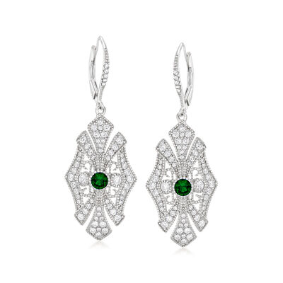 1.55 ct. t.w. CZ and .40 ct. t.w. Simulated Emerald Drop Earrings in Sterling Silver, , default