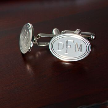Sterling Silver Personalized Cuff Links, , default