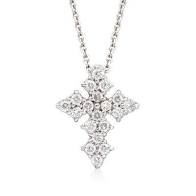 Roberto Coin .16 ct. t.w. Diamond Cross Necklace in 18kt White Gold