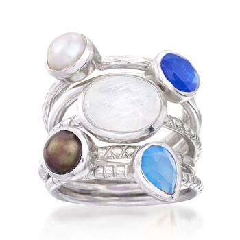 Blue and White Multi-Stone and 6mm Black and White Cultured Pearl Jewelry Set: Five Rings in Sterling Silver, , default