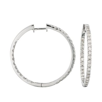 2.05 ct. t.w. Diamond Inside-Outside Hoop Earrings in 14kt White Gold
