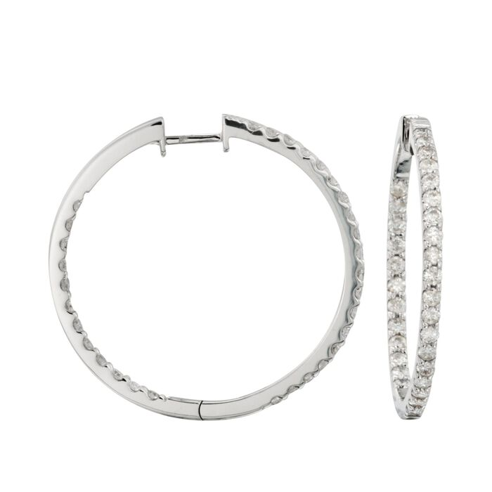 2.05 ct. t.w. Diamond Inside-Outside Hoop Earrings in 14kt White Gold. 1 1/4""