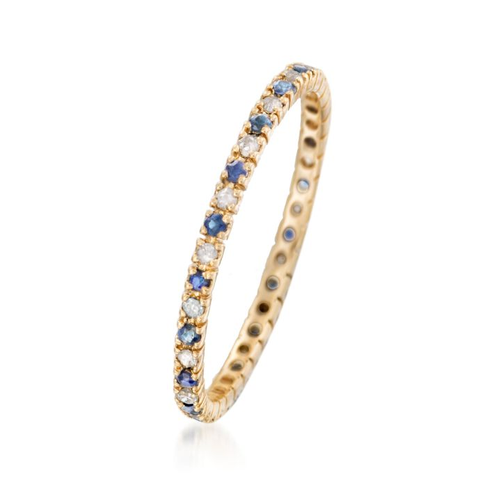 .10 ct. t.w. Sapphire and .14 ct. t.w. Diamond Eternity Band Ring in 14kt Yellow Gold
