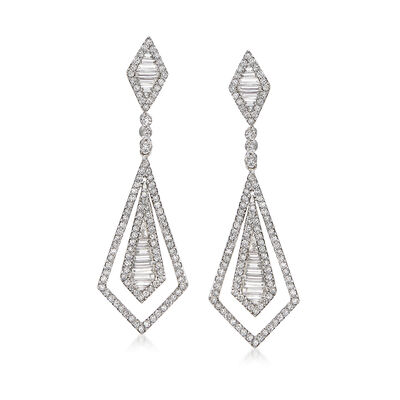 1.71 ct. t.w. Diamond Open-Space Double Kite-Shaped Drop Earrings in 18kt White Gold, , default