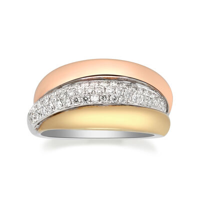.46 ct. t.w. Diamond Crossover Ring in 14kt Tri-Colored Gold