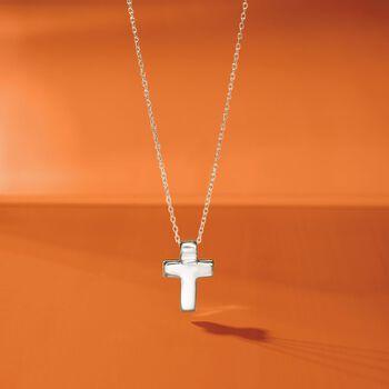 "Sterling Silver Cross Pendant Necklace. 18"", , default"