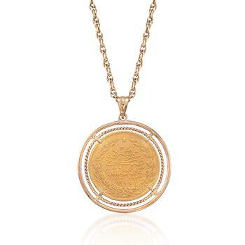 "C. 1970 Vintage Turkish Gold 100 Kurush Coin Pendant Necklace in 18kt and 22kt Gold. 22"", , default"
