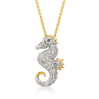 .24 ct. t.w. Diamond Seahorse Pendant Necklace with Black Diamond Accent in 18kt Gold Over Sterling