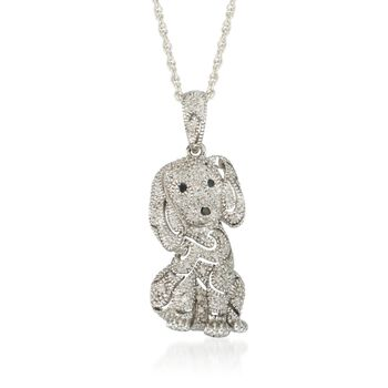""".15 ct. t.w. Diamond Dog Pendant Necklace in Sterling Silver. 18"""", , default"""