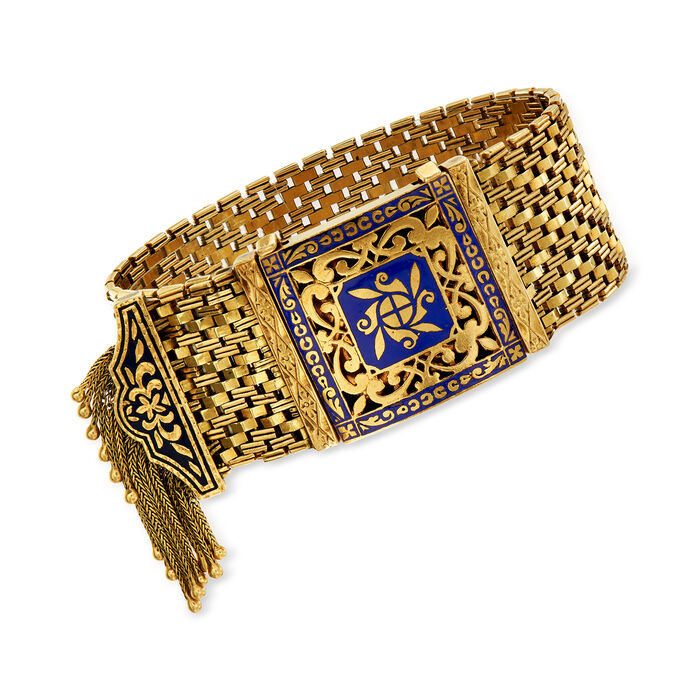 C. 1950 Vintage 14kt Yellow Gold Tassel Bracelet with Blue Enamel