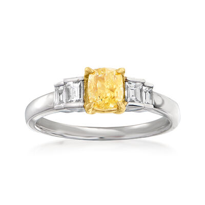 1.34 ct. t.w. Yellow and White Diamond Ring in 18kt Two-Tone Gold