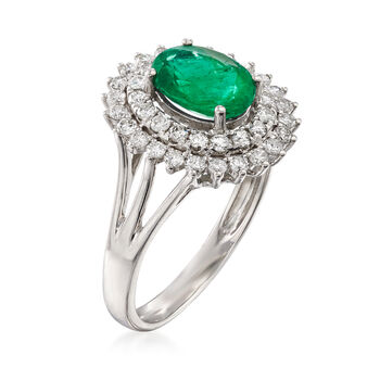 1.10 Carat Emerald and .60 ct. t.w. Diamond Ring in 18kt White Gold, , default