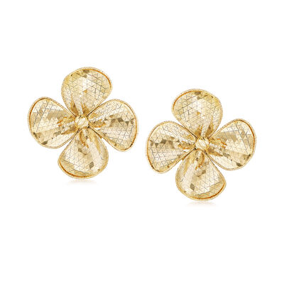 Italian 14kt Yellow Gold Diamond-Cut and Polished Flower Earrings, , default