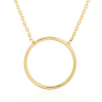 """14kt Yellow Gold Open Circle Necklace. 16"""", , default"""