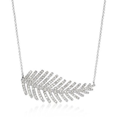 1.00 ct. t.w. Diamond Feather Necklace in 14kt White Gold, , default