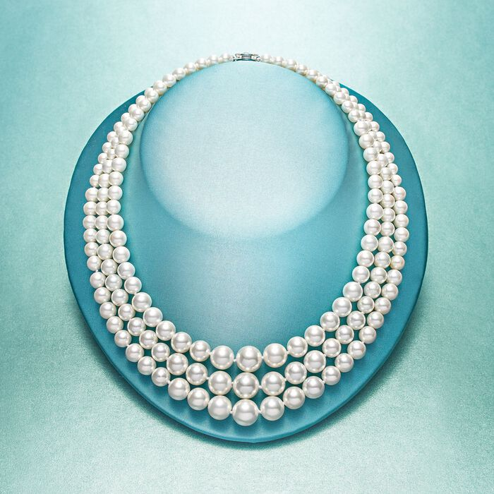 6-12mm Shell Pearl Graduated Three-Strand Necklace with Sterling Silver